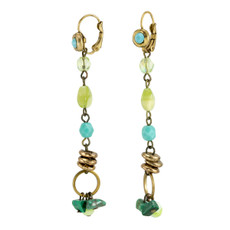 Anat Jewelry Blue and Green Drop  Earrings