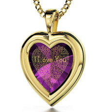 I Love You 120 Languages Necklace - Gold Heart