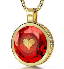 I Love You 120 Languages Necklace - Red Gold Circle
