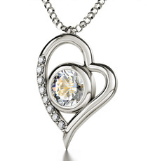 Inspirational Jewelry Clear Necklace Silver Heart I Love You