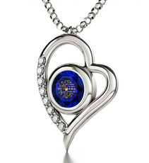 I Love You Blue Silver Heart Necklace