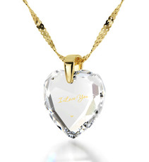 Inspirational Jewelry Clear Necklace I Love You Heart