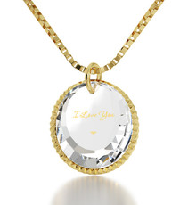 I Love You Clear Crystal Circle Necklace