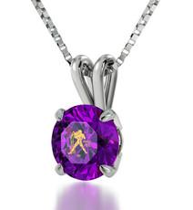 Aquarius Gold Inscribed Necklace - Purple