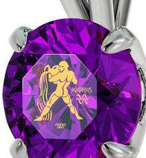 Purple Inspirational Jewelry Silver Aquarius Necklace