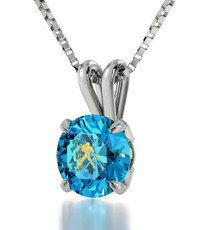 Aquarius Gold Inscribed Necklace - Teal Silver Inscribed