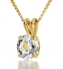 Aquarius Gold Inscribed Necklace - Clear Gold