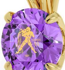 Inspirational Jewelry Violet Necklace Gold Aquarius