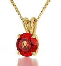 Aquarius Gold Inscribed Necklace - Gold Red