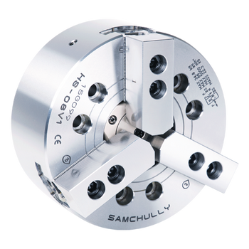 """Samchully 10"""" 3 Jaw Open Center High Speed Hydraulic Power Chuck Plain Back Spindle Mount HS-10"""