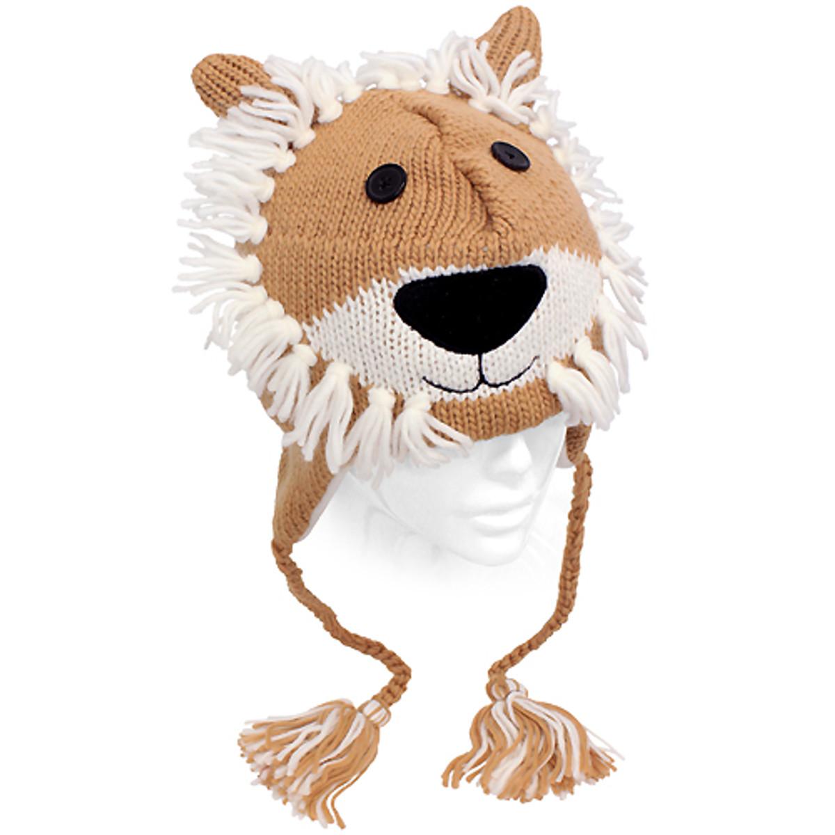 39b126256cf Knitted 3D Animal Trooper Trapper Hat Ear Flaps Braided Tassels Camel Lion
