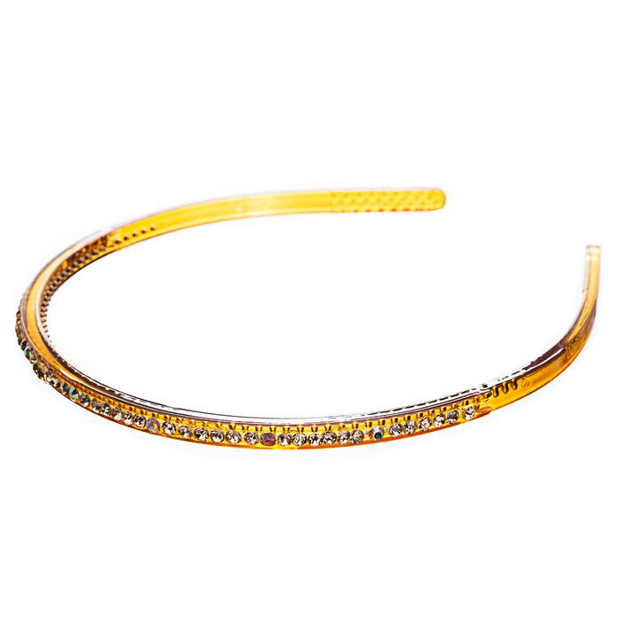 Fashion Sparkle Crystal Rhinestone Simple Linear Teeth Headband Gold Brown