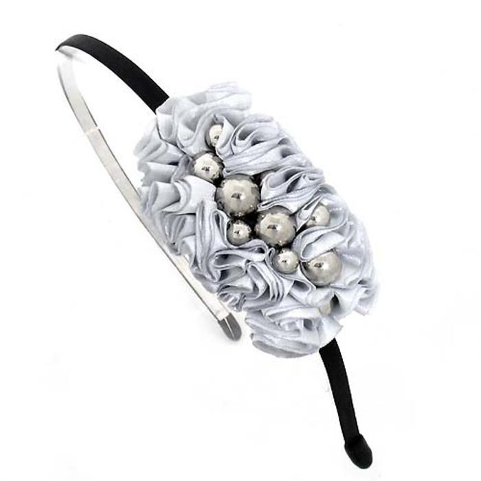 Silver Balls on Pleated Satin Ribbon Silver Headband