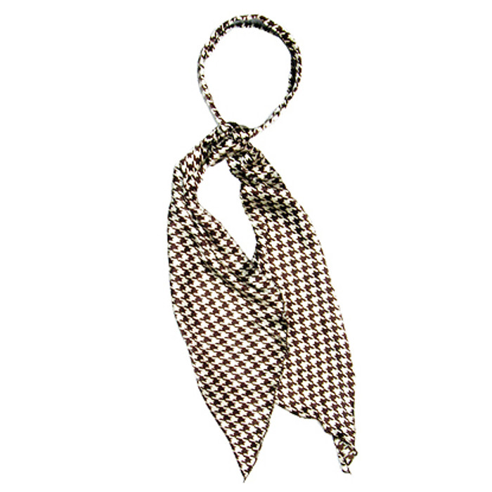 Fashion Scarf Look Headband Satin Houndtooth Brown