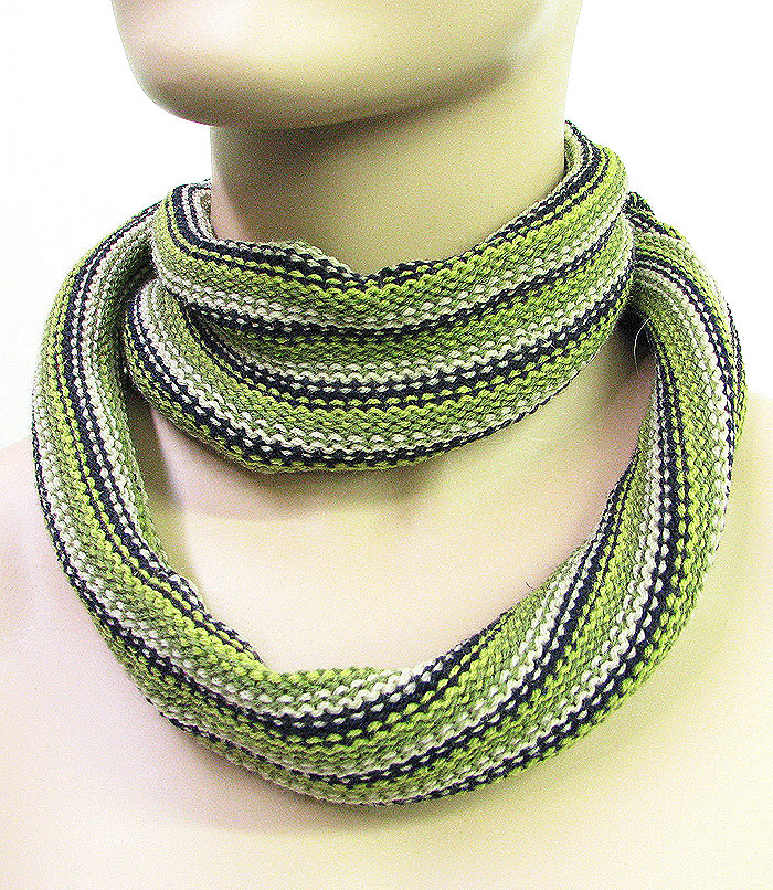 Fashion Skinny Scarf Neck Warmer Olive Green