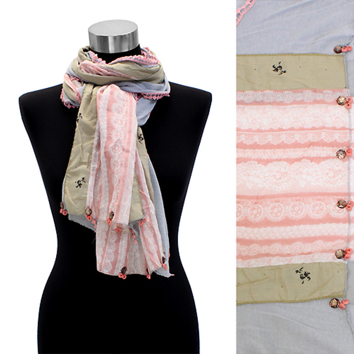 Hand Crafted Lace Design Fashion Scarf Beige Pink