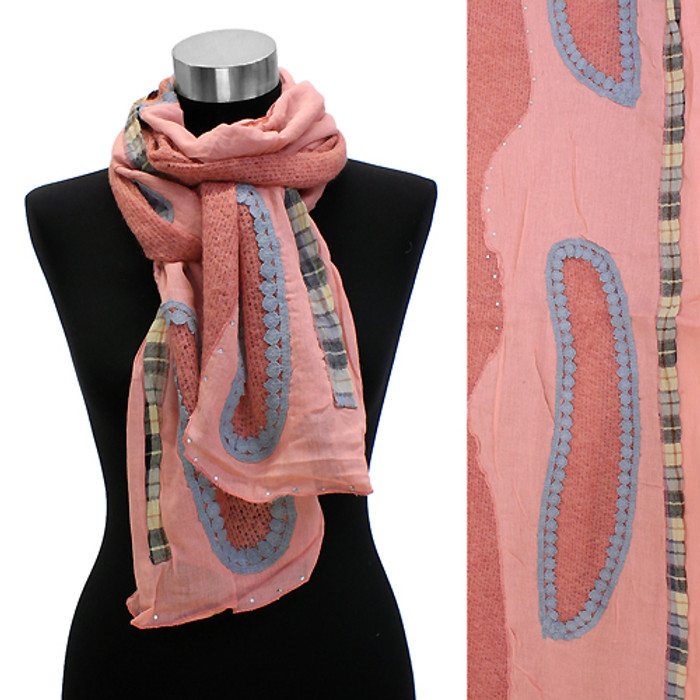 Bean Motif Hand Crafted Fashion Design Scarf Pink