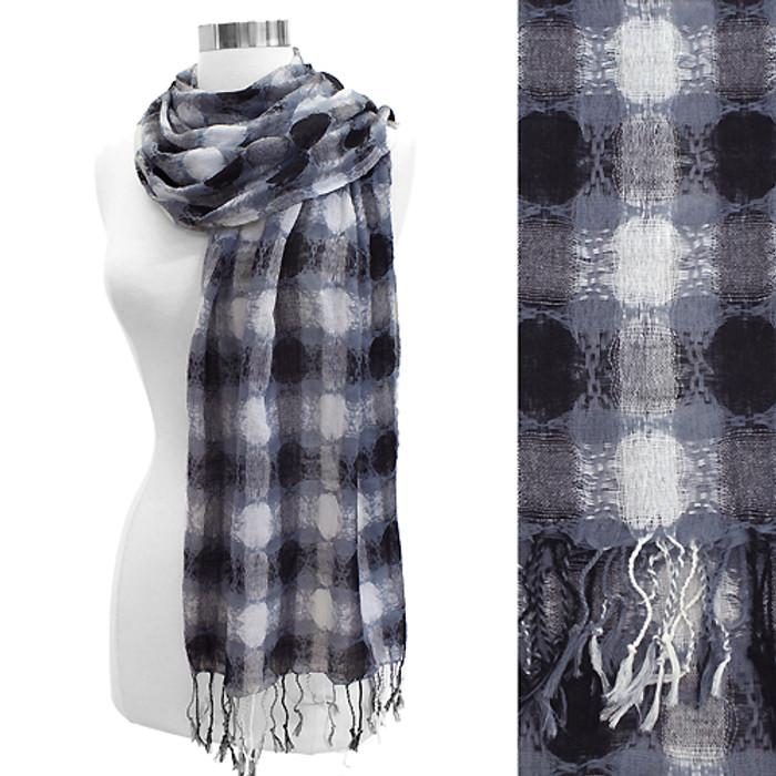 Dot Woven Design Fashion Fringe Scarf Black White