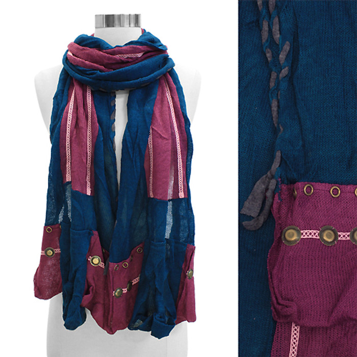 Stitched Edge Handmade Crafted Fashion Scarf Blue