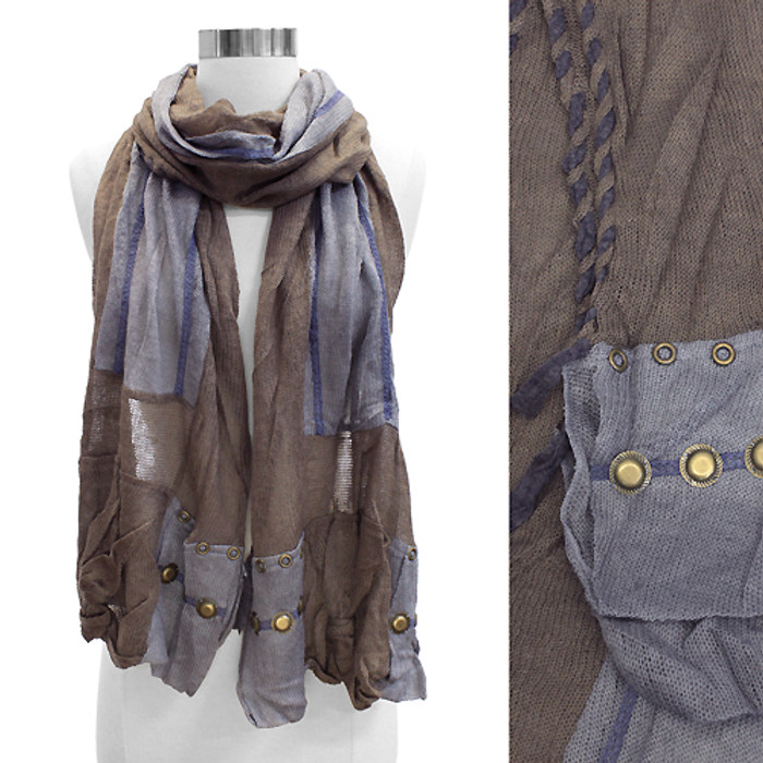 Stitched Edge Handmade Crafted Fashion Scarf Gray