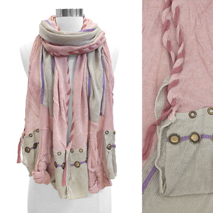 Stitched Edge Handmade Crafted Fashion Scarf Pink