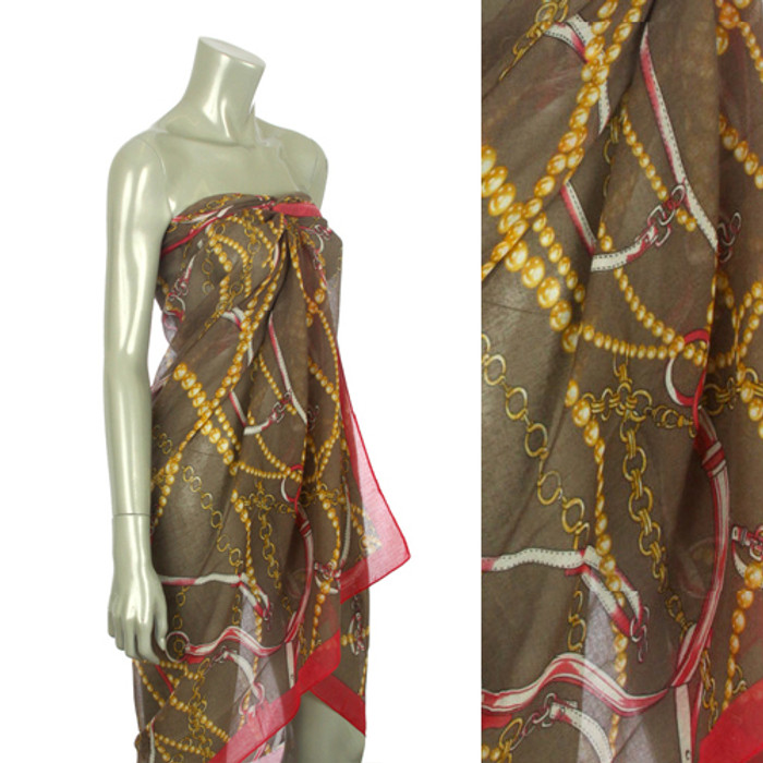 Beach Sarong Pareo Shawl Wrap Chain N Belt Brown