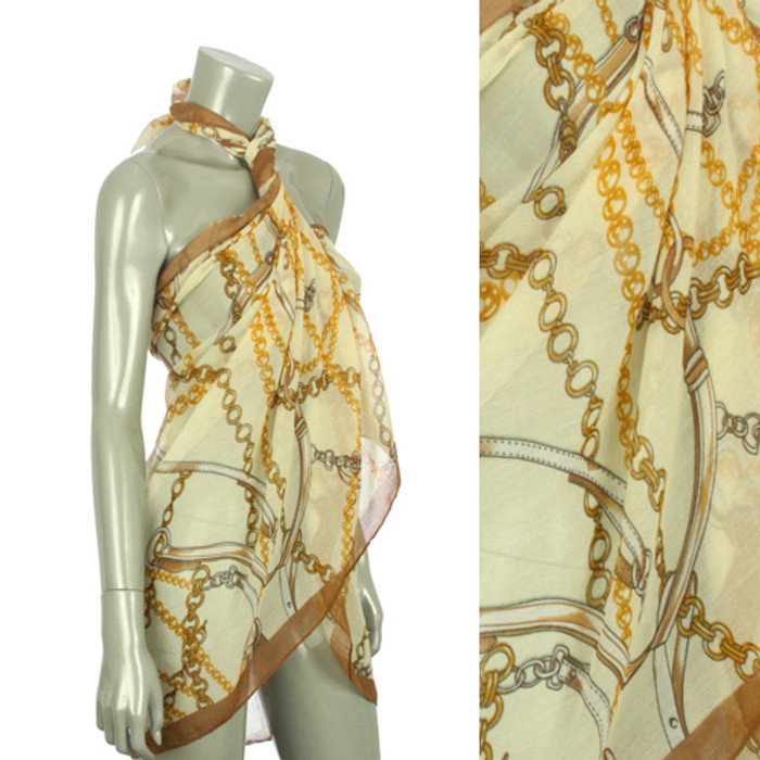 Beach Sarong Pareo Shawl Wrap Chain N Belt Ivory