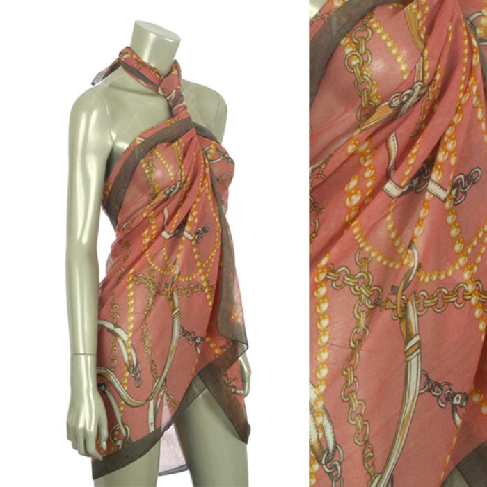 Beach Sarong Pareo Shawl Wrap Chain N Belt Pink