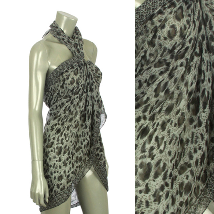 Beach Sarong Pareo Shawl Wrap Leopard N Border Black