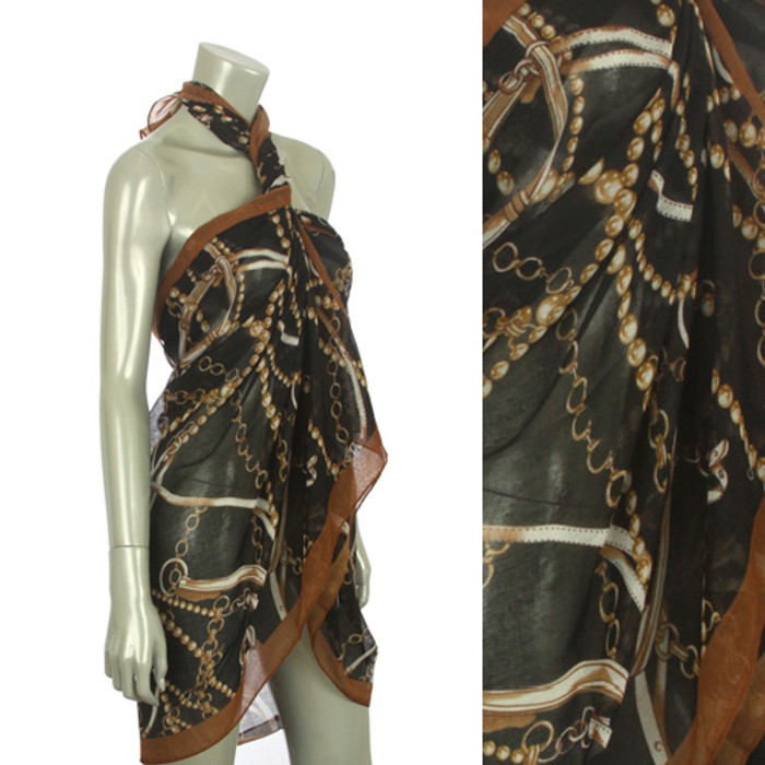 Beach Sarong Pareo Shawl Wrap Chain N Belt Black
