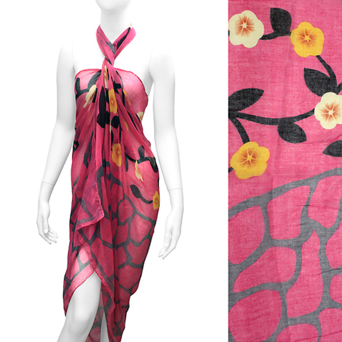 Beach Sarong Pareo Wrap Flower Animal Giraffe Pink