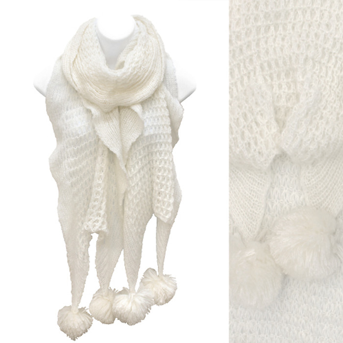 Soft Knit Ruffle Fashion Cold Weather Scarf with Pompoms Ivory White