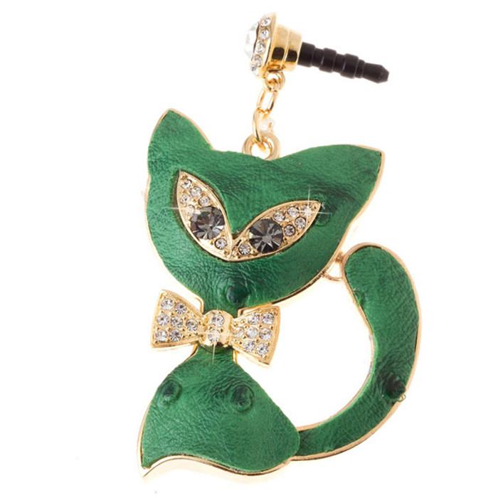 Earphone Dustproof Plug Stopper Phone Ear Cap Crystal Bow Tie Cat Gold Green
