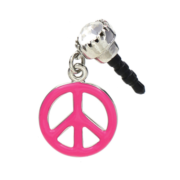 Earphone Dustproof Plug Stopper Phone Ear Cap Crystal Enamel Peace Sign Pink