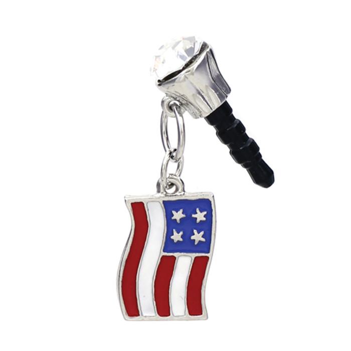 Earphone Dustproof Plug Stopper Phone Ear Cap Crystal Patriotic American Flag