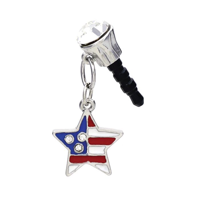 Earphone Dustproof Plug Stopper Phone Ear Cap Crystal Patriotic American Star