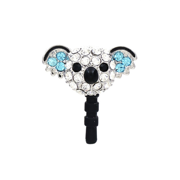 Earphone Dustproof Plug Stopper Phone Ear Cap Crystal Rhinestone Koala Blue