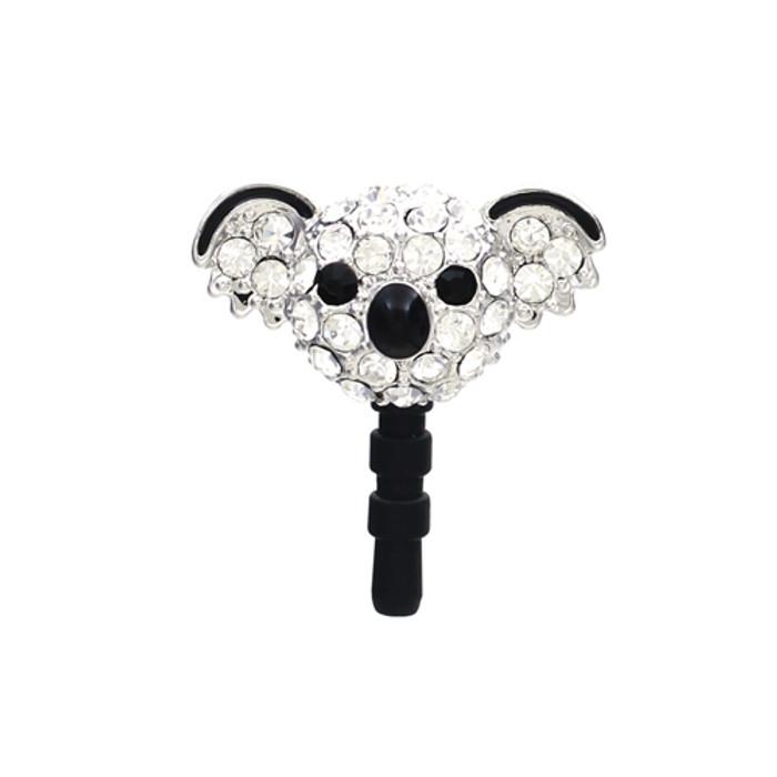 Earphone Dustproof Plug Stopper Phone Ear Cap Crystal Rhinestone Koala Silver