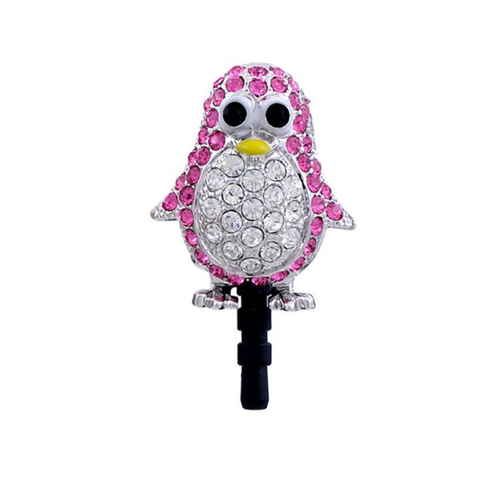 Earphone Dustproof Plug Stopper Phone Ear Cap Crystal Rhinestone Penguin Pink