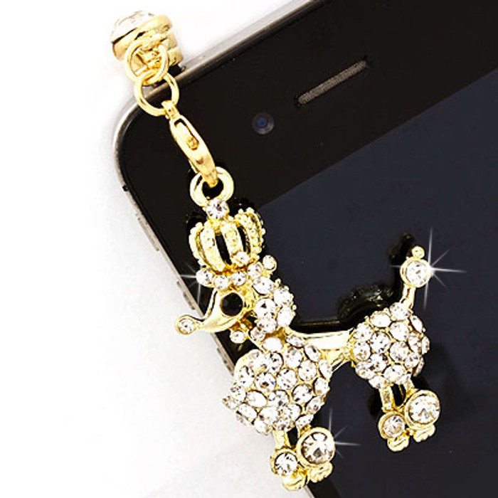 Earphone Dustproof Plug Stopper Phone Ear Cap Crystal Rhinestone Poodle Gold