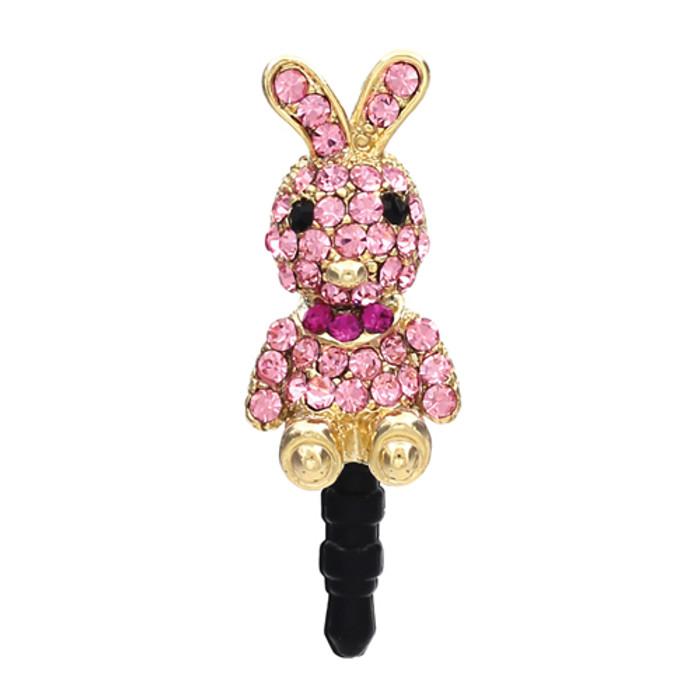 Earphone Dustproof Plug Stopper Phone Ear Cap Crystal Rhinestone Rabbit Pink