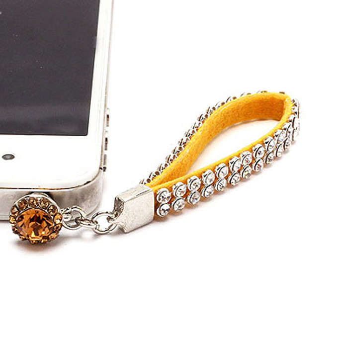 Earphone Dustproof Plug Stopper Phone Ear Cap Crystal Strap Design Clear Yellow