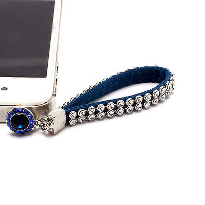 Earphone Dustproof Plug Stopper Phone Ear Cap Crystal Strap Design Cobalt Blue