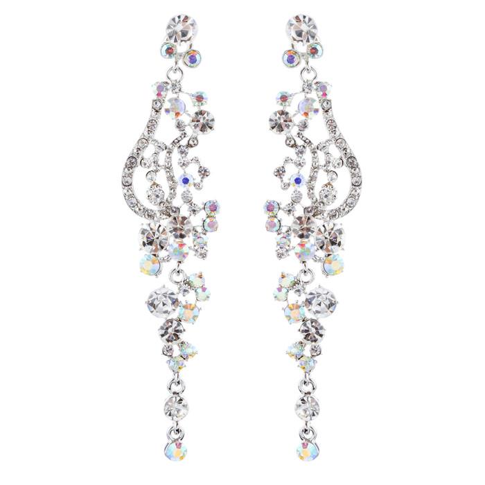 Bridal Wedding Jewelry Crystal Rhinestone Vintage Long Dangle Earring Silver