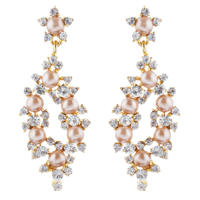 Bridal Wedding Jewelry Crystal Rhinestone Pearl Elegant Dangle Earrings Gold