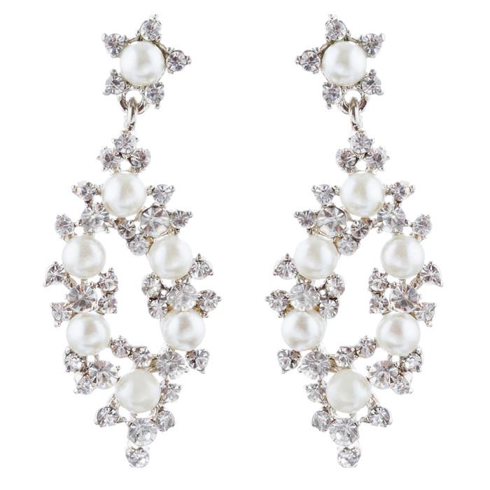 Bridal Wedding Jewelry Crystal Rhinestone Pearl Elegant Dangle Earrings Silver