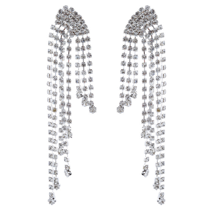 Bridal Wedding Jewelry Crystal Rhinestone Drapery Design Drop Earrings Silver