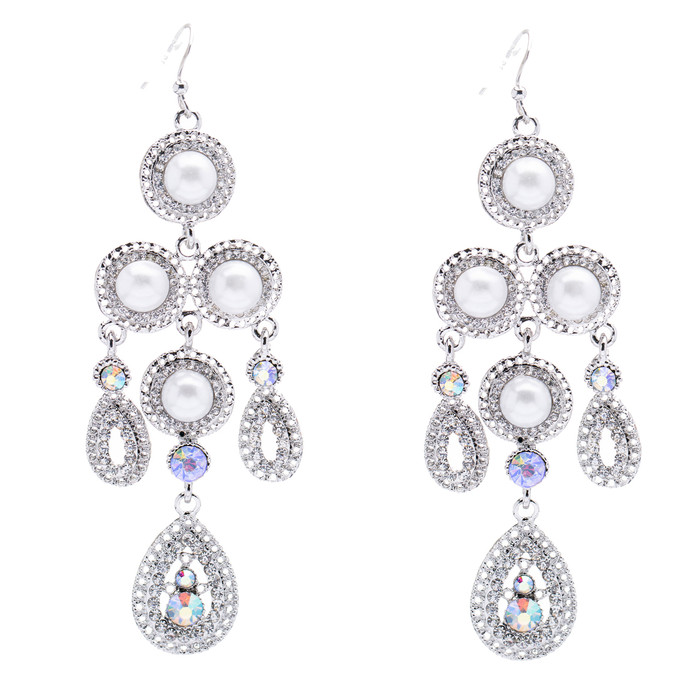 Bridal Wedding Jewelry Crystal Rhinestone Pearl Vintage Dangles Earrings Silver
