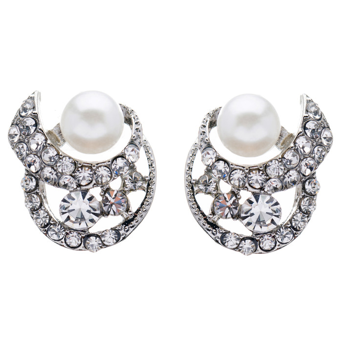 Bridal Wedding Jewelry Crystal Rhinestone Pearl Simple Stud Earrings Silver
