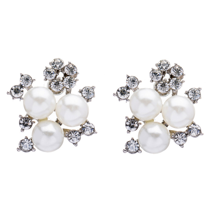 Bridal Wedding Jewelry Crystal Rhinestone Pearl Sparkle Stud Earrings Ivory LG